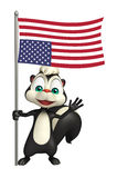 Fun Skunk cartoon character with flag. 3d rendered illustration of Skunk cartoon character with flag Stock Photography