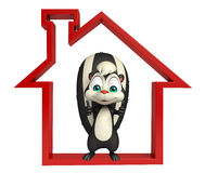 Fun Skunk cartoon character with home sign Royalty Free Stock Images