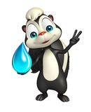 Fun Skunk cartoon character with water drop Royalty Free Stock Images