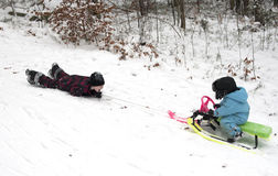 Fun with sledge Royalty Free Stock Photo