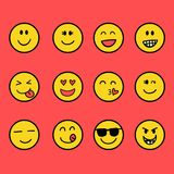 Fun and smile emoticon. The Fun and smile emoticon  set collection Royalty Free Stock Photo