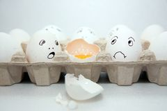 Fun smile white row eggs Stock Image