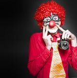 Fun Smiling Clown Holding Camera Taking Happy Snap Stock Photos