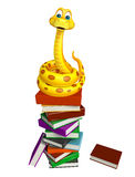 Fun Snake cartoon character with book Stock Images
