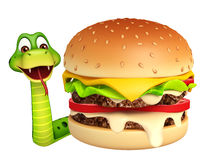 Fun Snake cartoon character with burger Royalty Free Stock Image