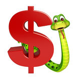 Fun Snake cartoon character with dollar sign Royalty Free Stock Photography