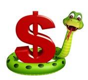 Fun Snake cartoon character with dollar sign Stock Photography