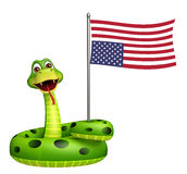 Fun Snake cartoon character with flag. 3d rendered illustration of Snake cartoon character with flag Stock Photos