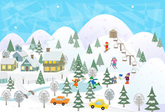 Fun In The Snow. Detailed scenery of a town in snow with mountains, lake and people doing activities. Eps10 Stock Photo