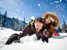 Fun in snow Stock Images