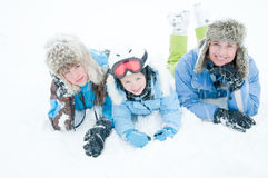 Fun in snow storm Royalty Free Stock Photo