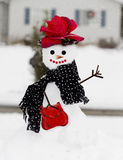 Fun Snowlady Red Rose Hat Stock Photo