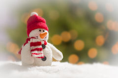 Fun Snowman Over Abstract Background Stock Image