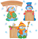 Fun snowmen for design. Stock Photos