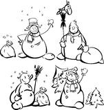 Fun snowmen  for design. Royalty Free Stock Photos