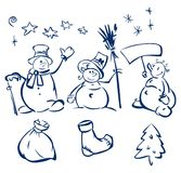 Fun snowmen and elements for design. Royalty Free Stock Photography