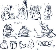Fun snowmen and Santa and elements for design. Funny snowmen made in vector, Adobe Illustrator 8 EPS file Stock Image