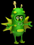 Fun space alien. Fun space green alien on a black background Stock Photo