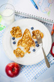 Fun space rocket shaped pancakes for kids Royalty Free Stock Photos