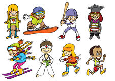 Fun sport kids. Eight fun sport kids characters, each of them group separately.Vector image Royalty Free Stock Images