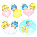 The fun a star and fleecy clouds on Girls and boys Angel Mascot. Stock Photography