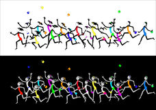 Fun Stick Figure Girls in Dresses Running. Fun Stick Figure Girls in Colorful Dresses Running - each girl grouped separately, dresses removable & easy to change Stock Photography
