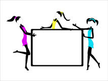 Fun Stick Figure Girls in Dresses Whiteboard with. Fun Stick Figure Girls in colorful dresses showing a whiteboard large copyspace - each girl grouped Royalty Free Stock Photo