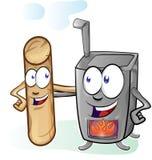 Fun stove and pellet cartoon Royalty Free Stock Photo