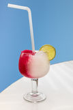 Fun strawberry and lemon crushed ice drink Stock Photo
