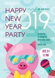 Fun stylish happy 2019 new year party flyer. With nice pig in bright color theme for placard, invitation, print, brochure, holiday background and backdrop stock illustration