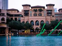 Fun summer activities in Downtown Dubai. Fun summer family activities in Downtown Dubai with balloons and boat ride royalty free stock images
