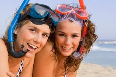 Fun on summer beach vacation stock photography