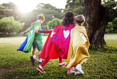 Fun Summer Childhood Superhero Concept stock photography