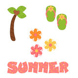 Fun Summer Illustrations. Illustration of a set of images green and pink flip flops, yellow, pink and orange flowers, palm tree, and the phrase summer for card Stock Photos