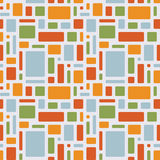 Fun summer pattern of geometric objects. Seamless repeating pattern of rounded rectangles. Vector background in retro colors: blue, orange, yellow, green Royalty Free Stock Photo