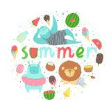 Fun summer poster. Cards with cute animals, fruits etc. Fun summer poster. Cards with cute animals, fruits, icecream, lemon, pineapple and much more. Vector Stock Images