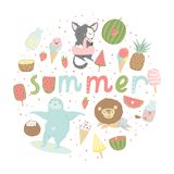 Fun summer poster. Cards with cute animals, fruits etc. Fun summer poster. Cards with cute animals, fruits, icecream, lemon, pineapple and much more. Vector Stock Image