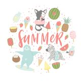 Fun summer poster. Cards with cute animals, fruits etc. Fun summer poster. Cards with cute animals, fruits, icecream, lemon, pineapple and much more. Vector Royalty Free Stock Image