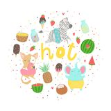 Fun summer poster. Cards with cute animals, fruits etc. Fun summer poster. Cards with cute animals, fruits, icecream, lemon, pineapple and much more. Vector Stock Photos