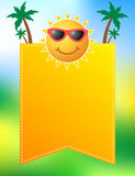 Fun summer poster design with cute sun. Wearing glasses Royalty Free Stock Photography