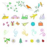 Fun, summer, spring, travel, illustration, vector set icon. Fun summer spring travel illustration vector set icon art Royalty Free Stock Photos