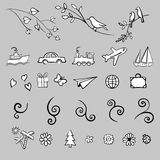 Fun, summer, spring, travel, illustration, vector set icon Stock Images