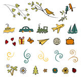 Fun, summer, spring, travel, illustration, vector set icon. Fun summer spring travel illustration vector set icon art Royalty Free Stock Images