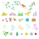 Fun, summer, spring, travel, illustration, vector. Fun summer spring travel illustration vector set icon art Royalty Free Stock Photo