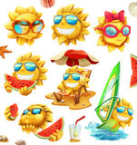 Fun summer sun, vector characters. icon set Stock Photography