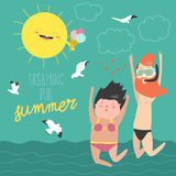 Fun summer vacation. Couple of young people, man and woman are jumping on the sea background. Vector illustration Royalty Free Stock Photo