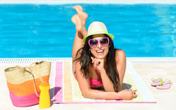Fun summer vacation at pool Royalty Free Stock Photo
