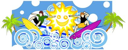 Fun with the sun. Surfer duo  have fun riding the high waves as the sun and the sea join in the thrill Stock Image