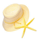 Fun in the Sun. Yellow beach hat and starfish represent the perfect summer day Stock Photo