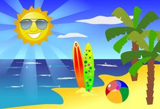 Fun and Sun at Beach. Illustration of a tropical paradise with a lot of fun in the sun Royalty Free Stock Image